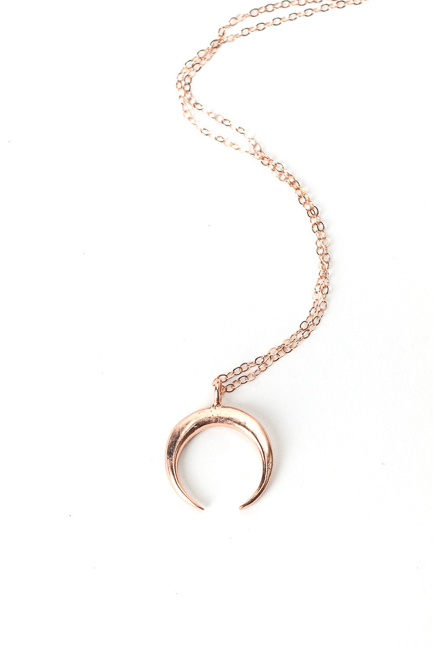 "*Rhapsody 16-18"" Rose Gold Crescent Pendant Necklace"