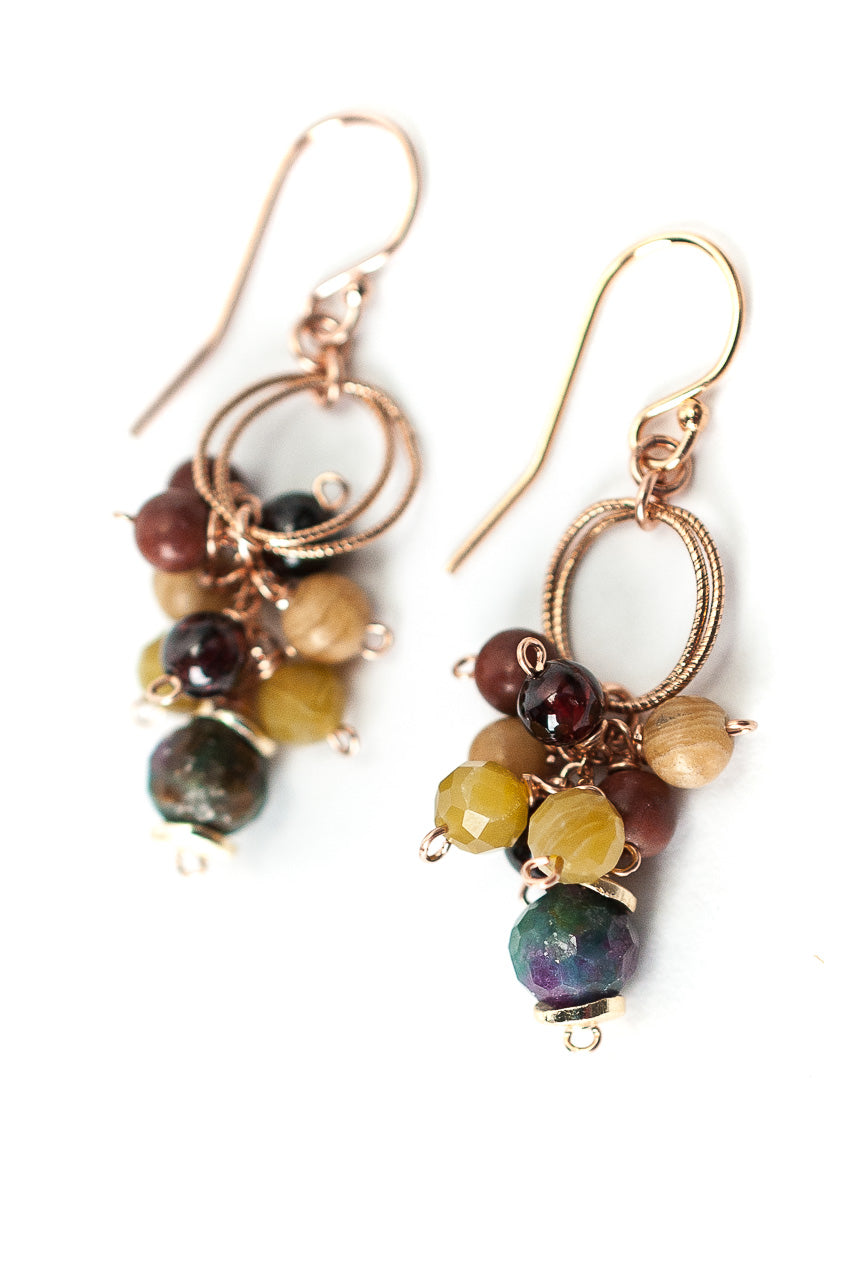 *Rhapsody Rose Gold Gemstone Cluster Earrings