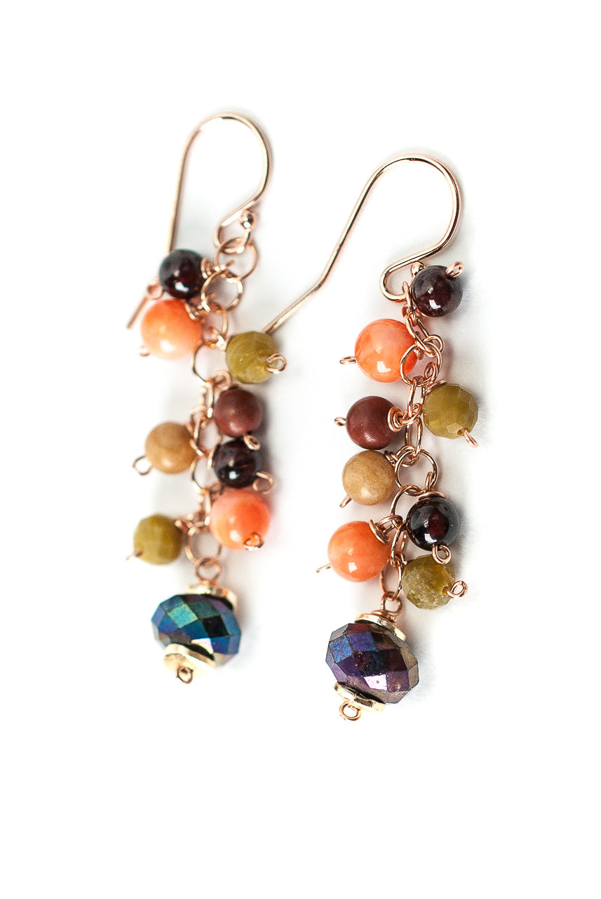 *Rhapsody Gemstone Cluster Dangle Earrings