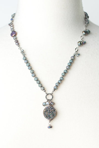 "Reflections 20.5-22.5"" Druzi Pendant Collage Necklace"