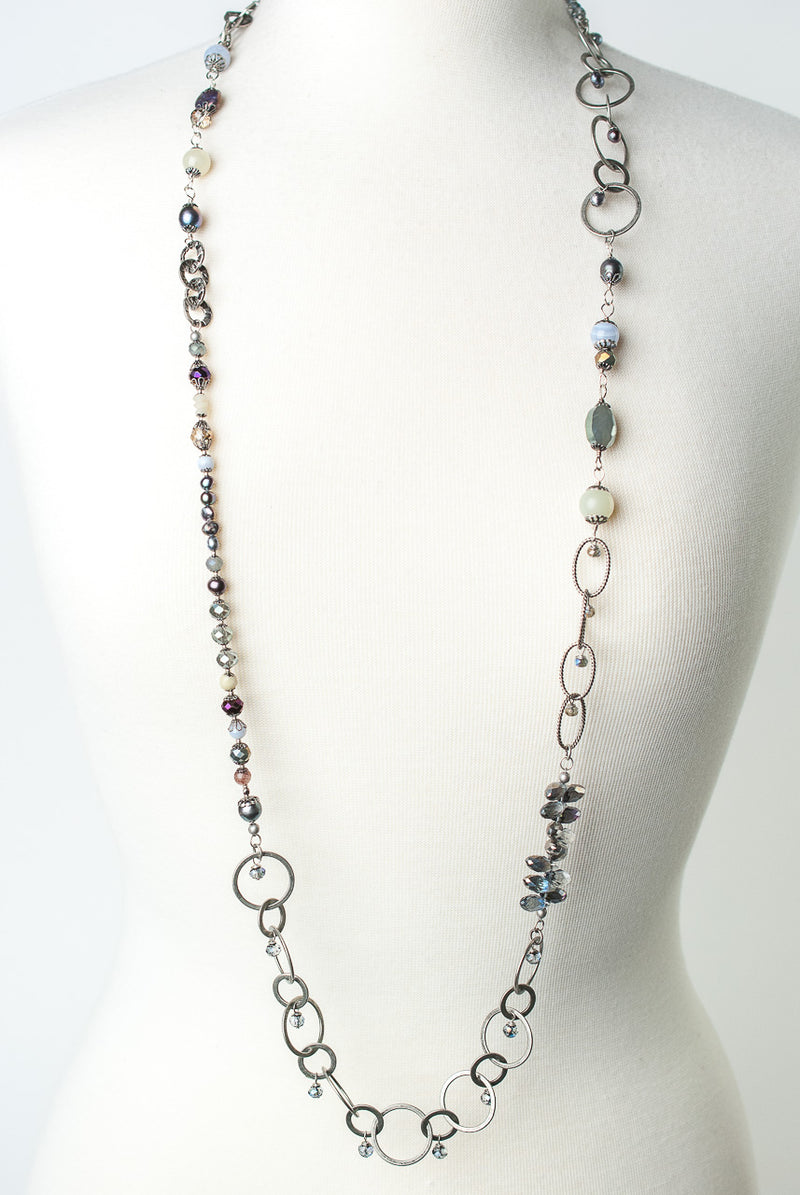 "Reflections 44-46"" Long Collage Layer Necklace"