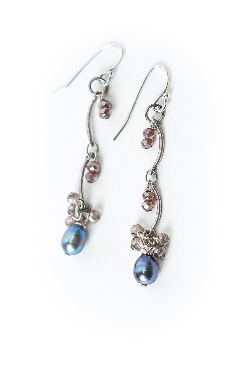 Reflections Pearl & Antique Silver Dangle Earrings