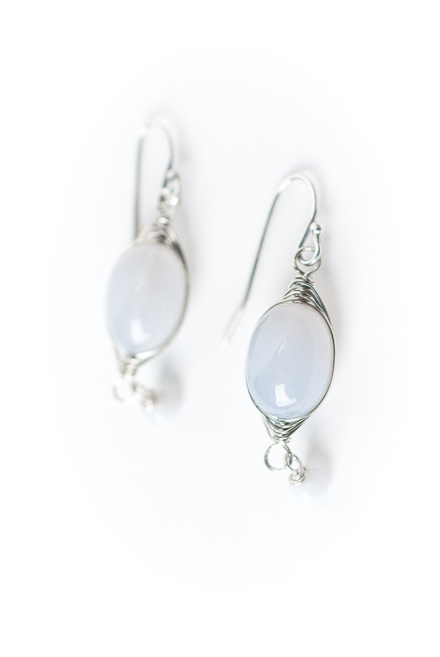 Reflections Blue Lace Agate Herringbone Earrings