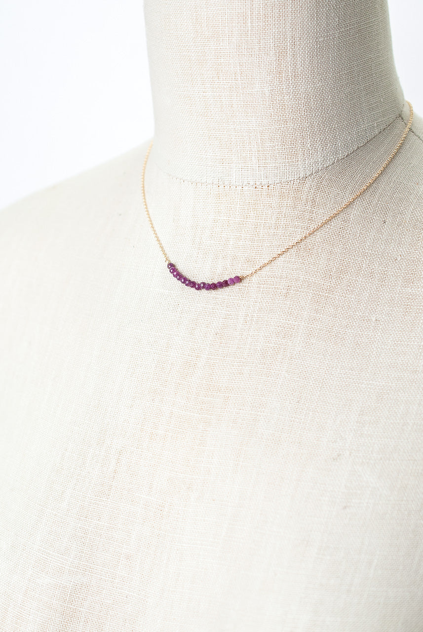 "Sangria 16-18"" Ruby Bar Necklace"