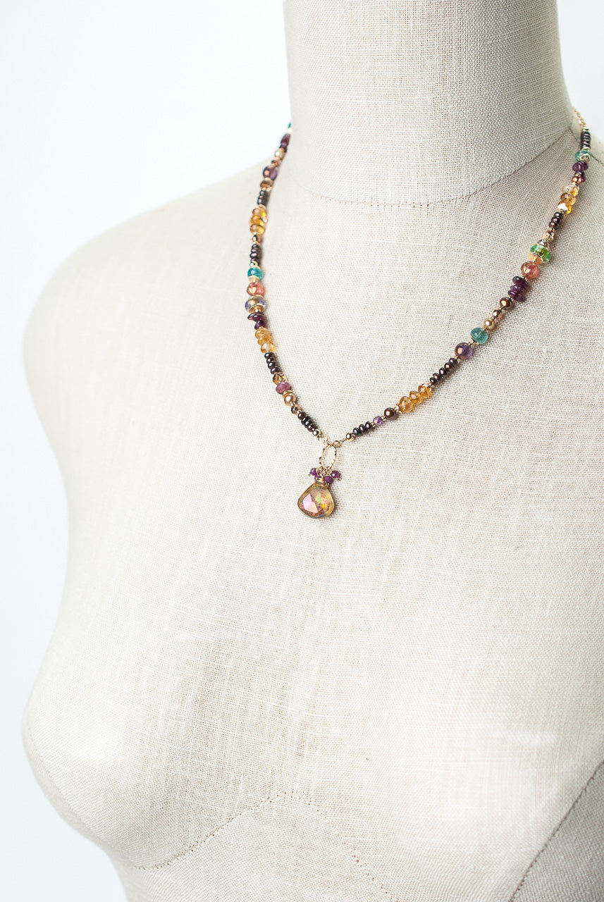 "Sangria 18-20"" Apatite, Fresh Water Pearl, Citrine, Ruby Collage Focal Necklace"