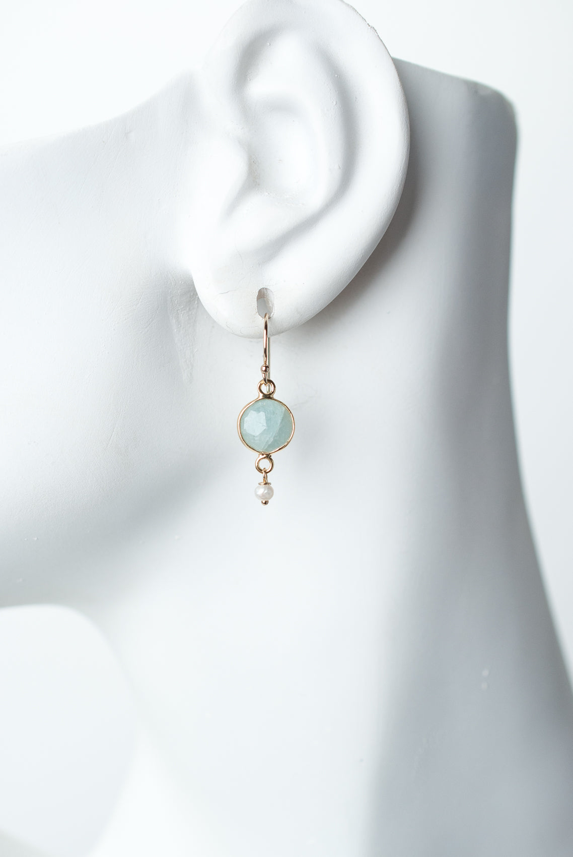 Serenity Aquamarine Fasceted Bezel Earrings