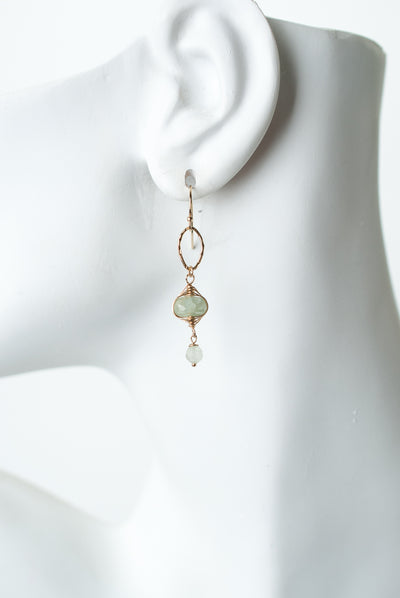 Serenity Aquamarine Herringbone Dangle Earrings