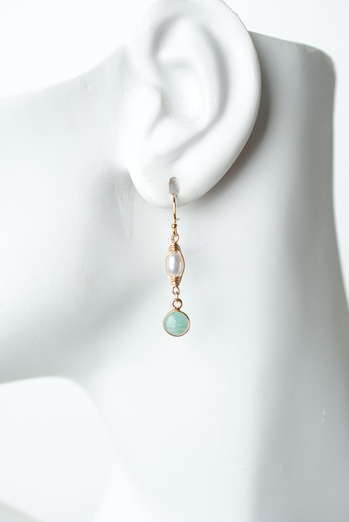 Serenity Pearl & Amazonite Dangle Earrings
