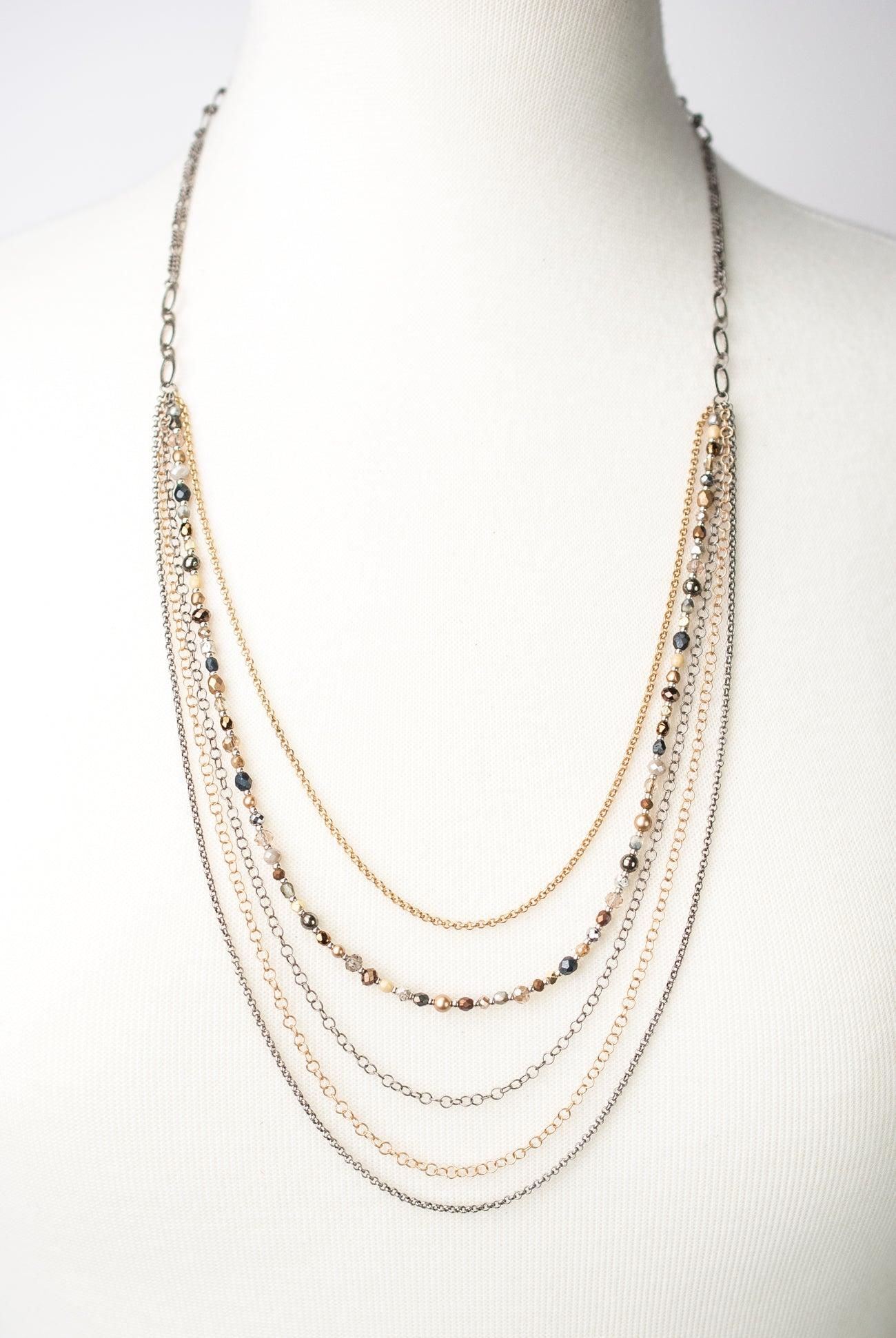 "Silver & Gold 26.5-28.5"" Fine Multistrand Necklace"