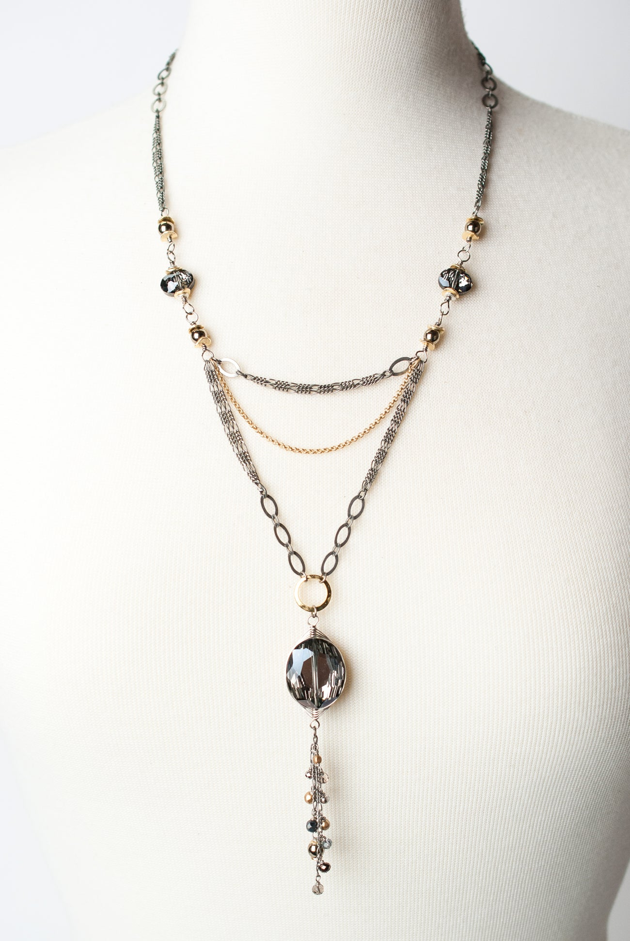 "Silver & Gold 21.5-23.5"" Layered Necklace"