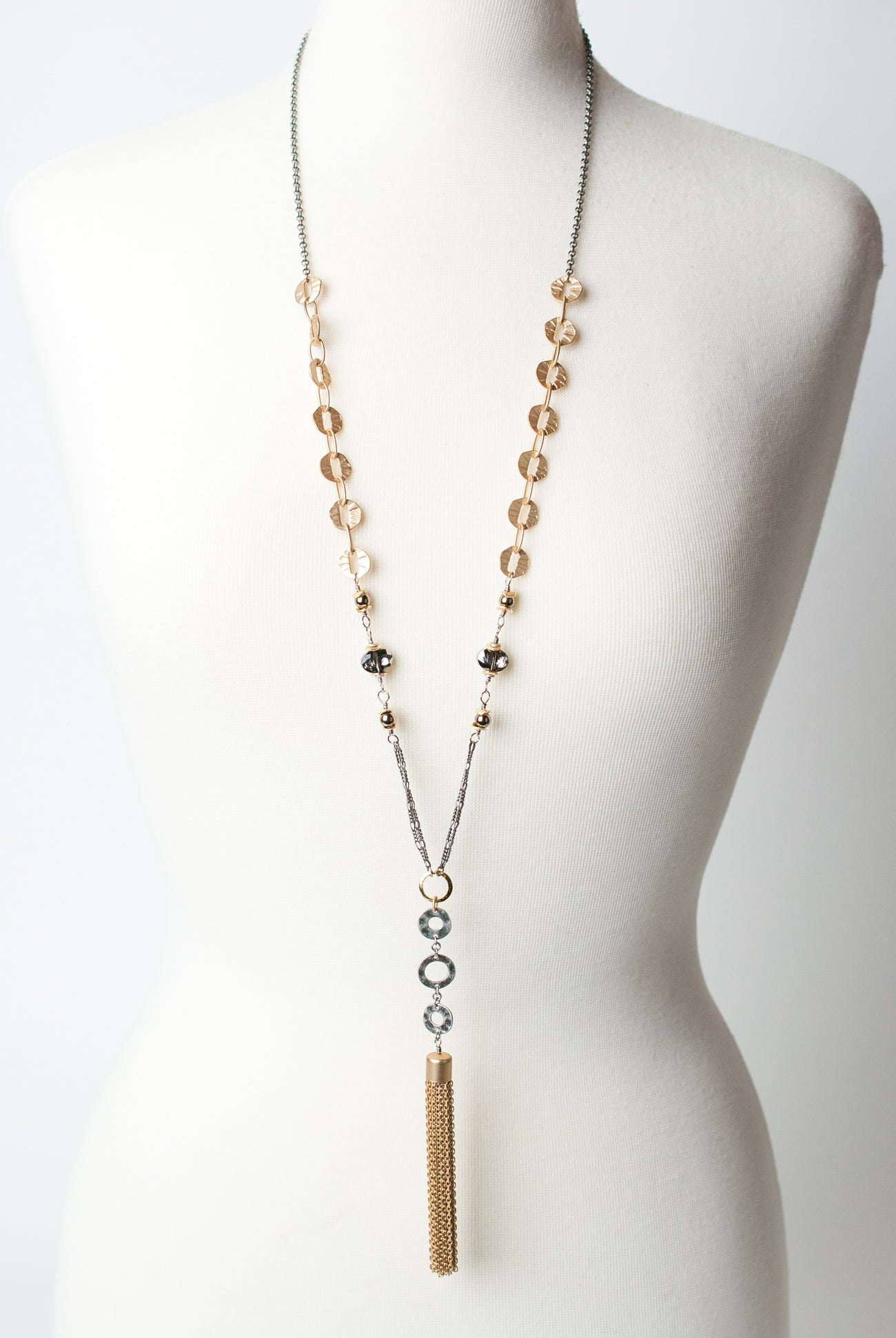 "Silver & Gold 33.5-35.5"" Gold Tassel Necklace"