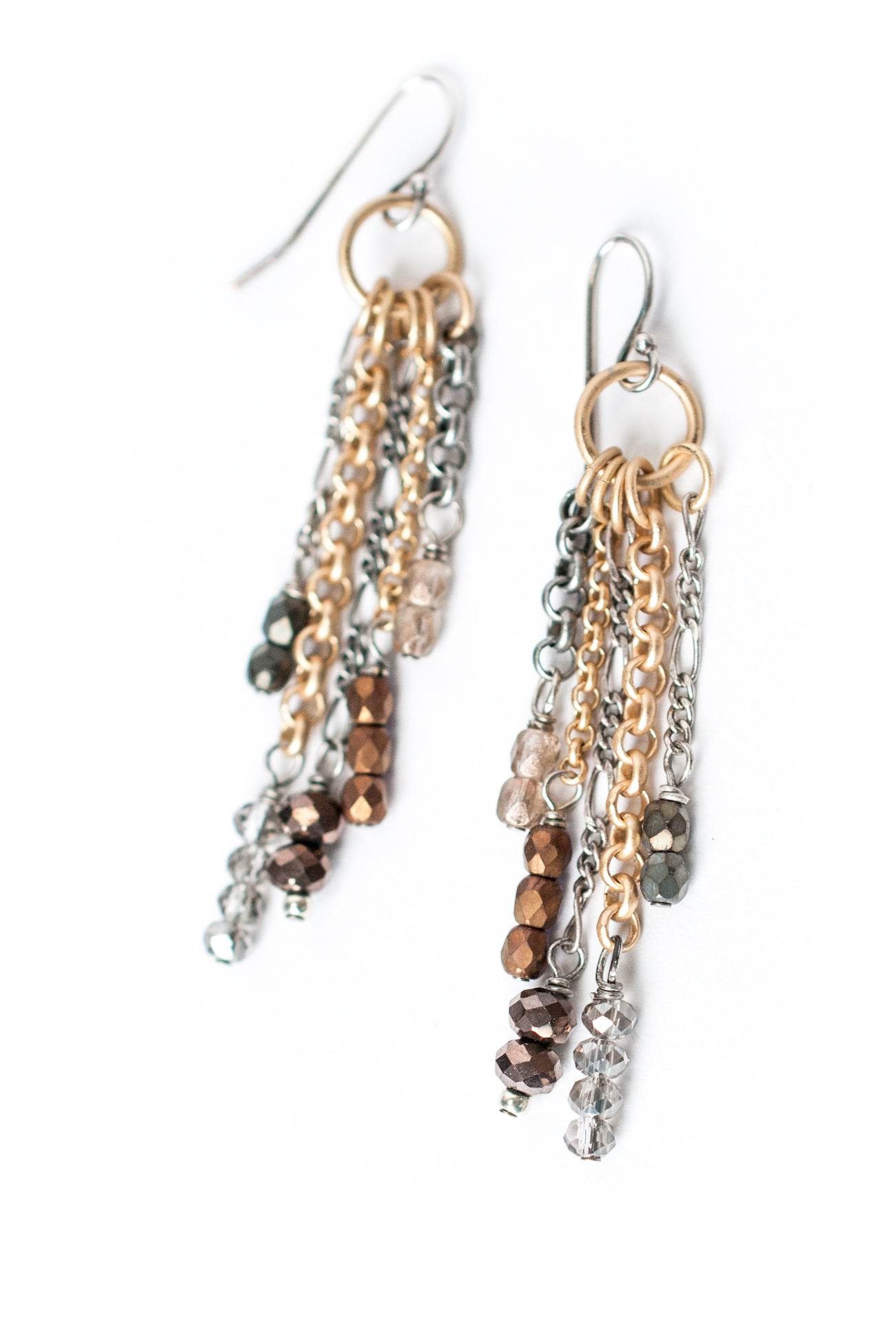 Silver & Gold Mixed Metal & Gemstone Tassel Earrings