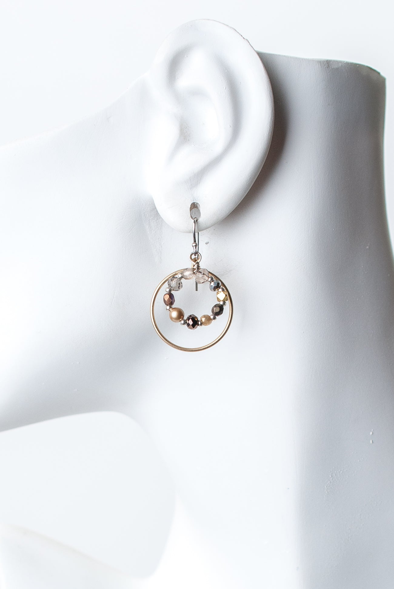 Silver & Gold Hoop Dangle Earrings