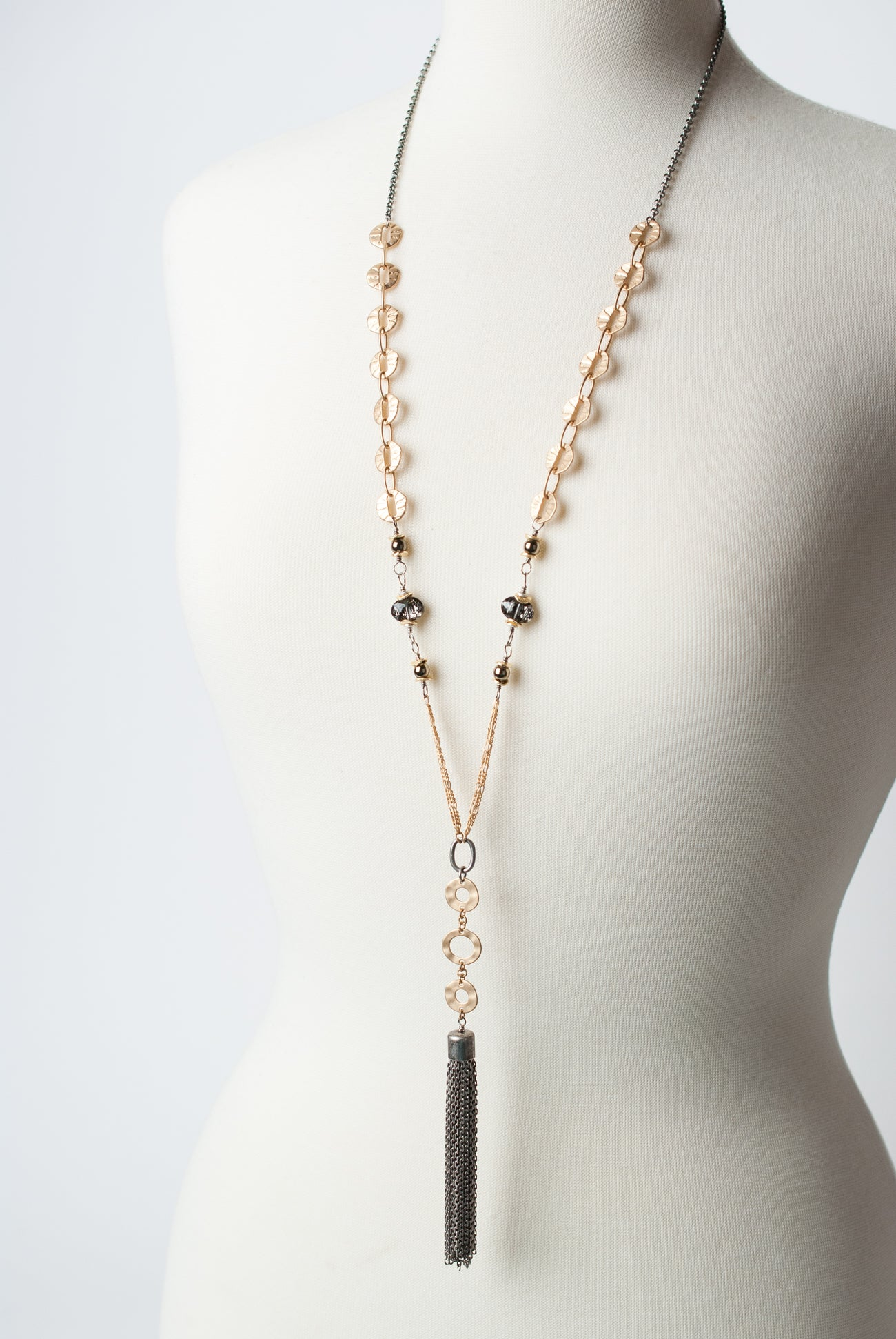"Silver & Gold 33.5-35.5"" Silver Tassel Necklace"