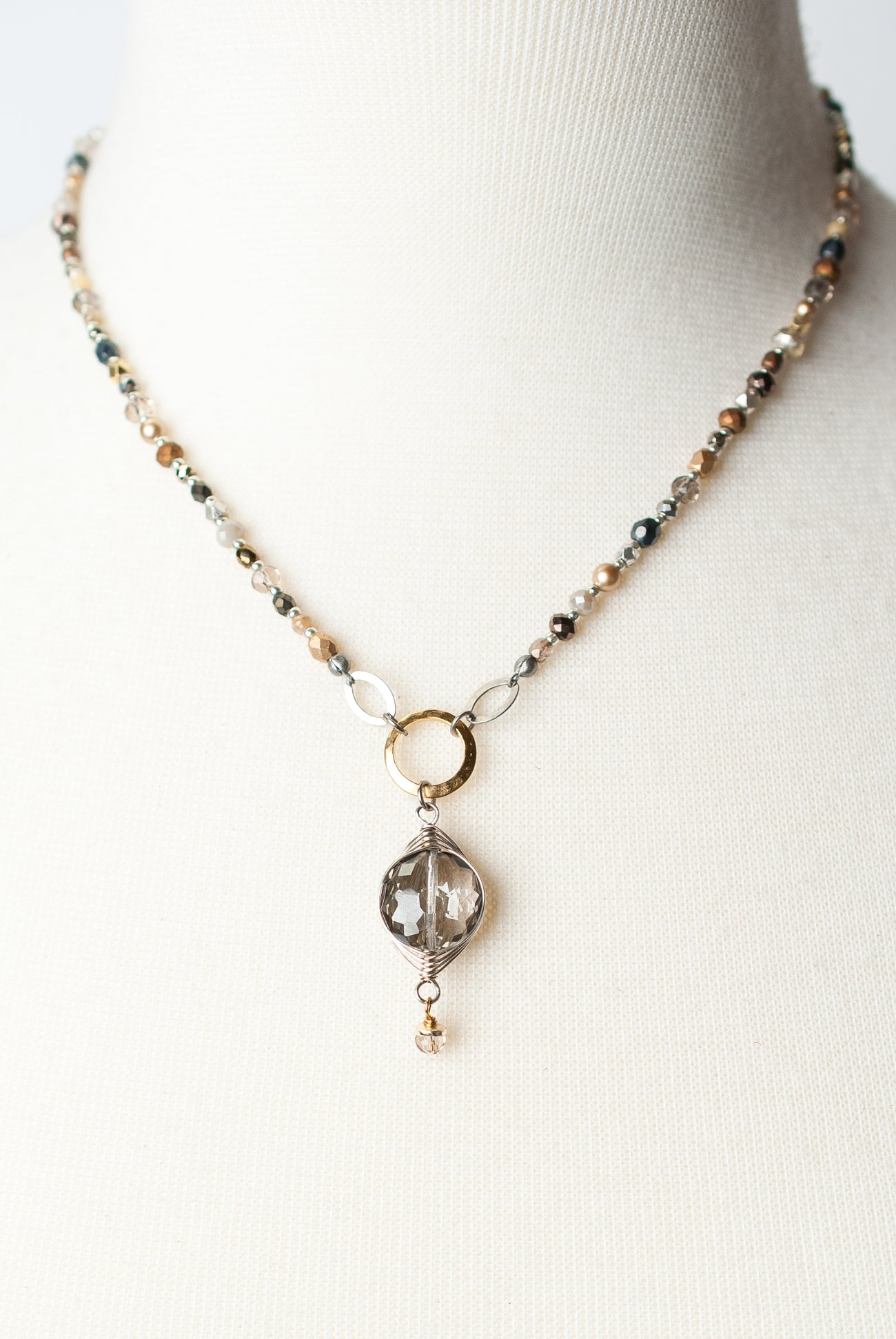 "Silver & Gold 17-19"" Herringbone Pendant Collage Necklace"