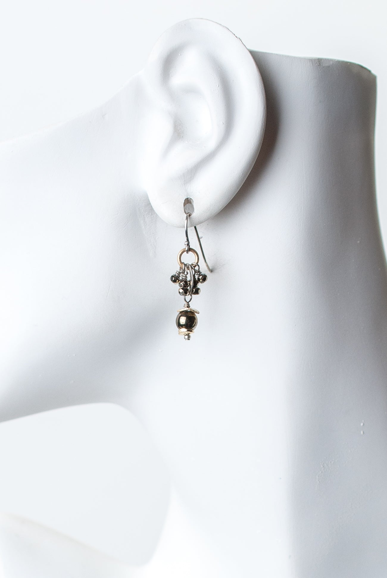 Silver & Gold Pyrite Cluster Earrings