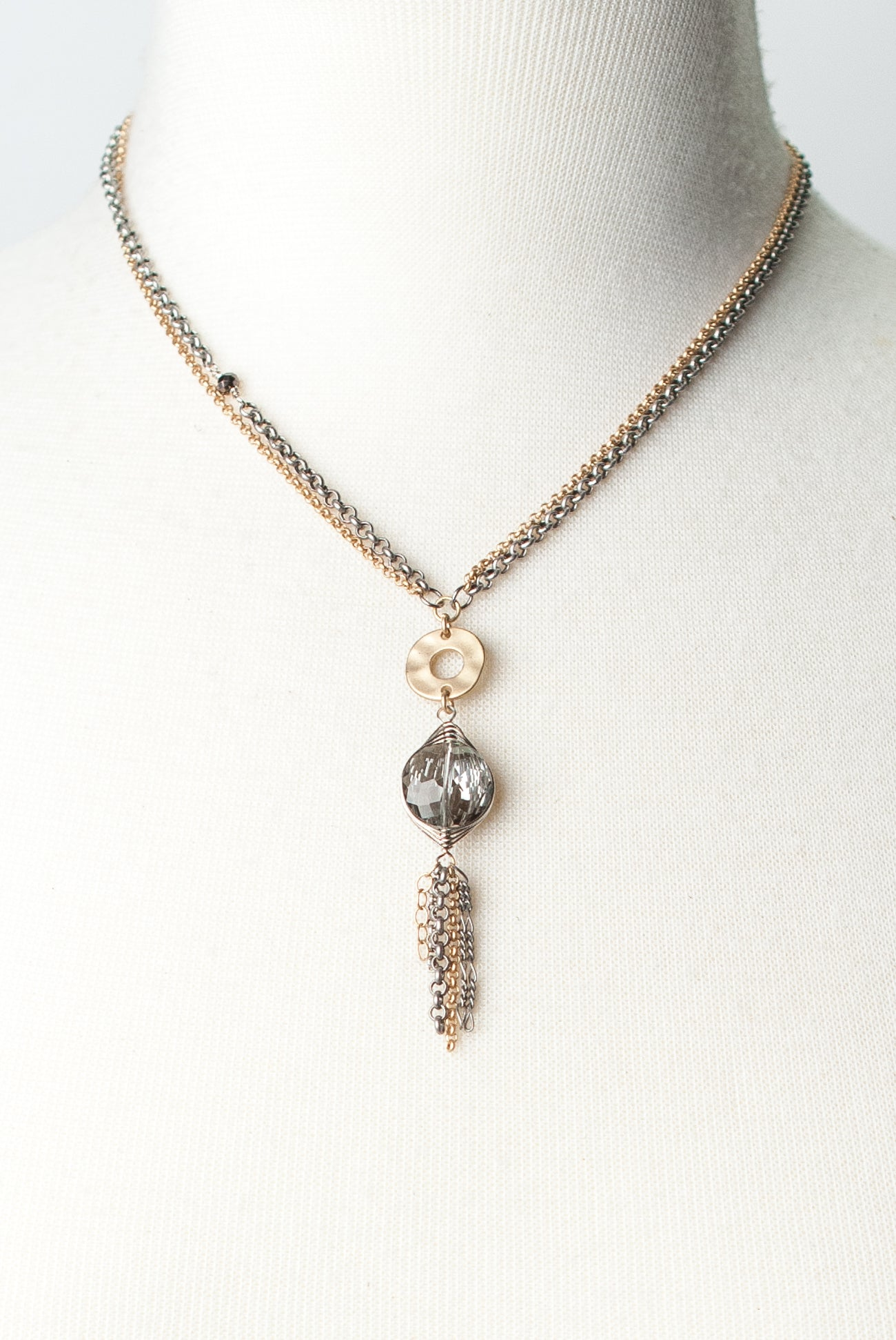 "Silver & Gold 16-18"" Crystal Tassel Pendant Necklace"