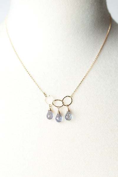 "Shenandoah 17-19"" Simple Gold Chain with Topaz Cluster Focal Necklace"