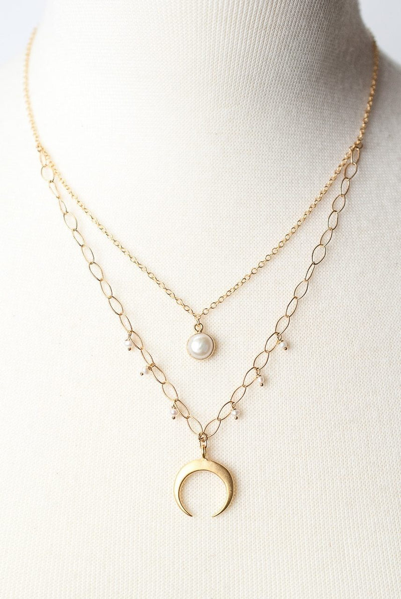 "Simplicity 16-18"" Double Strand Crescent Focal Necklace"