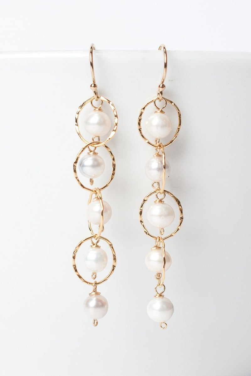 Simplicity Pearl Gold Chain Dangle Earrings
