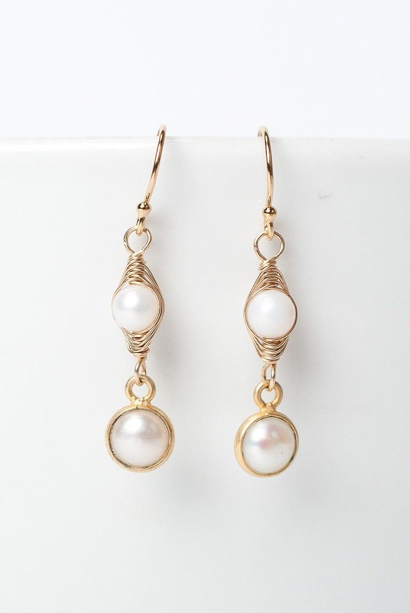 Simplicity Pearl Herringbone Dangle Earrings