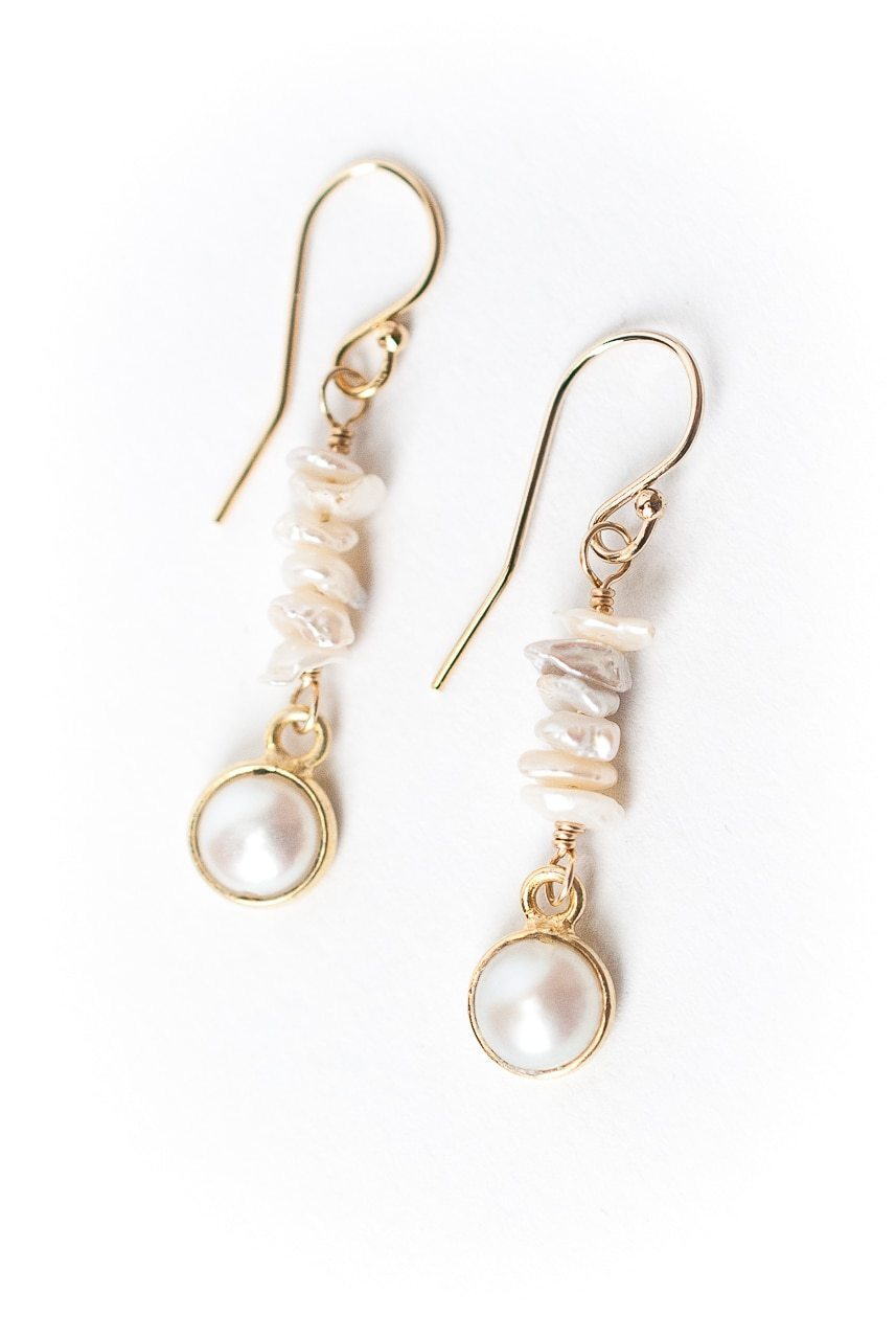 Simplicity Pearl Chip Dangle Earrings