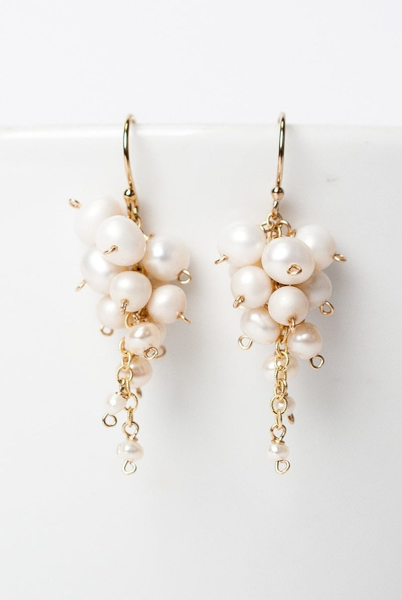 Simplicity Pearl Cascading Cluster Earrings