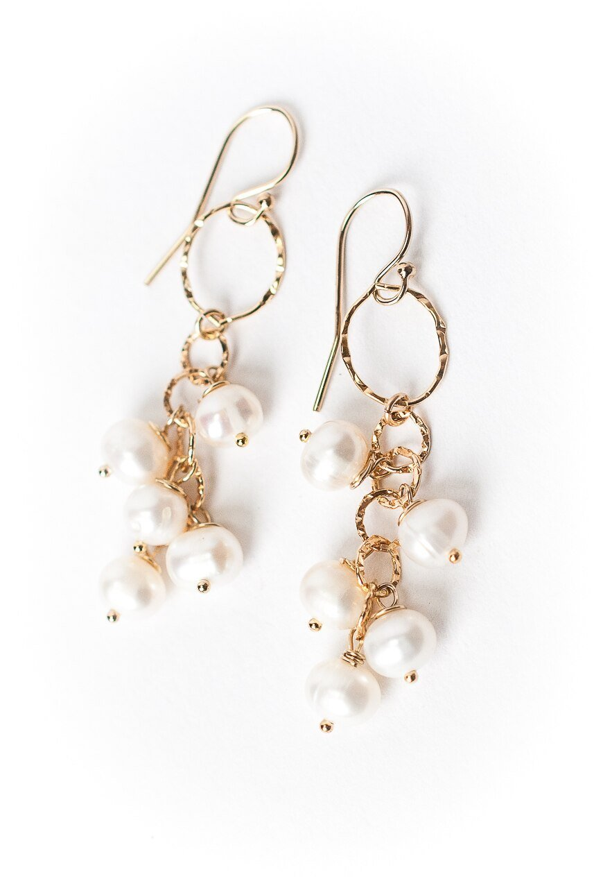 Simplicity Pearl Cluster Dangle Earrings