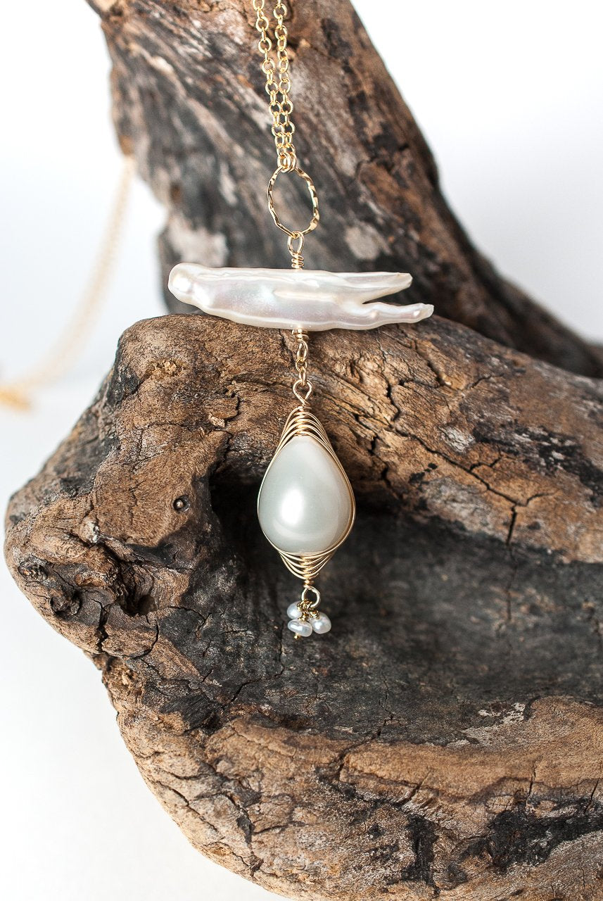 "Simplicity 22-24"" Pearl Herringbone Focal Necklace"