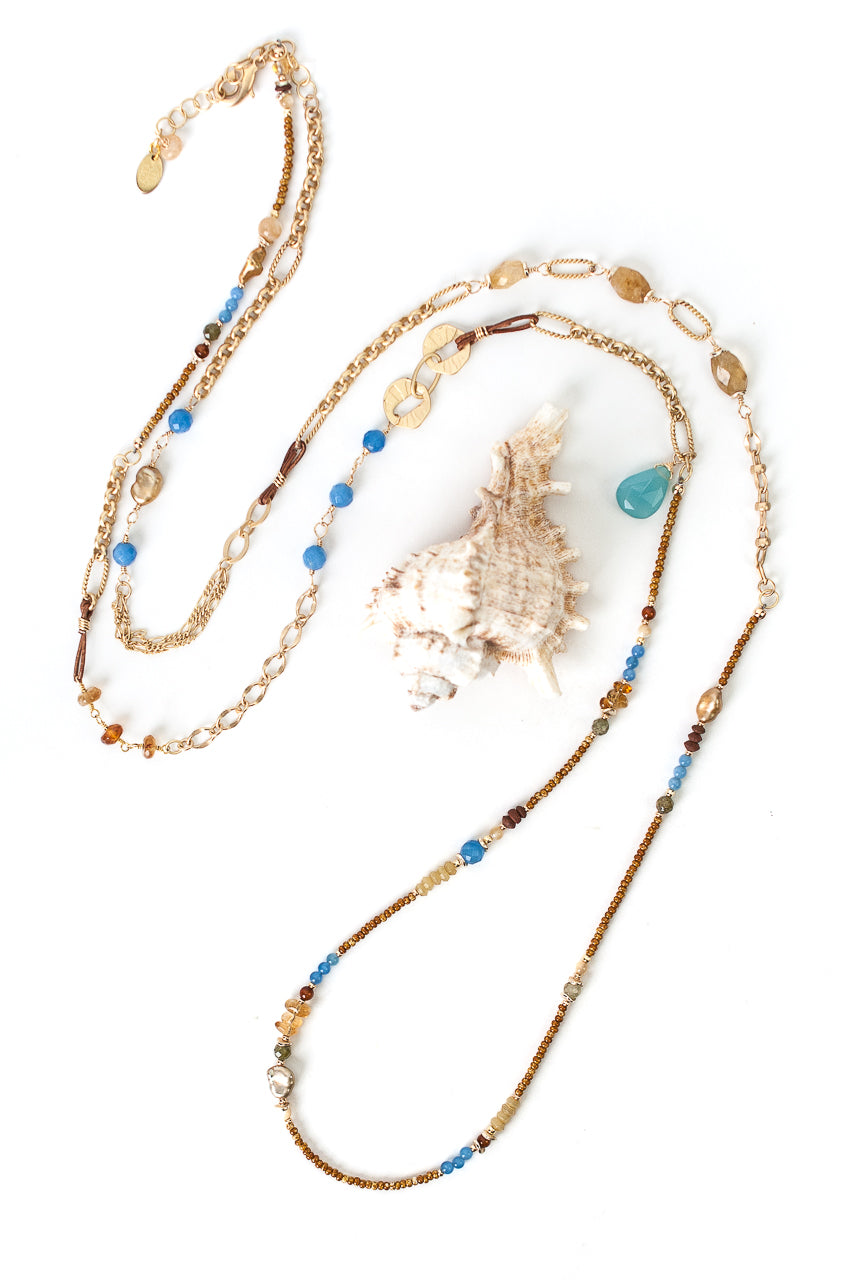 "Sand and Sea 49.5-51.5"" Agate, Citrine, Mother of Pearl Collage Necklace"