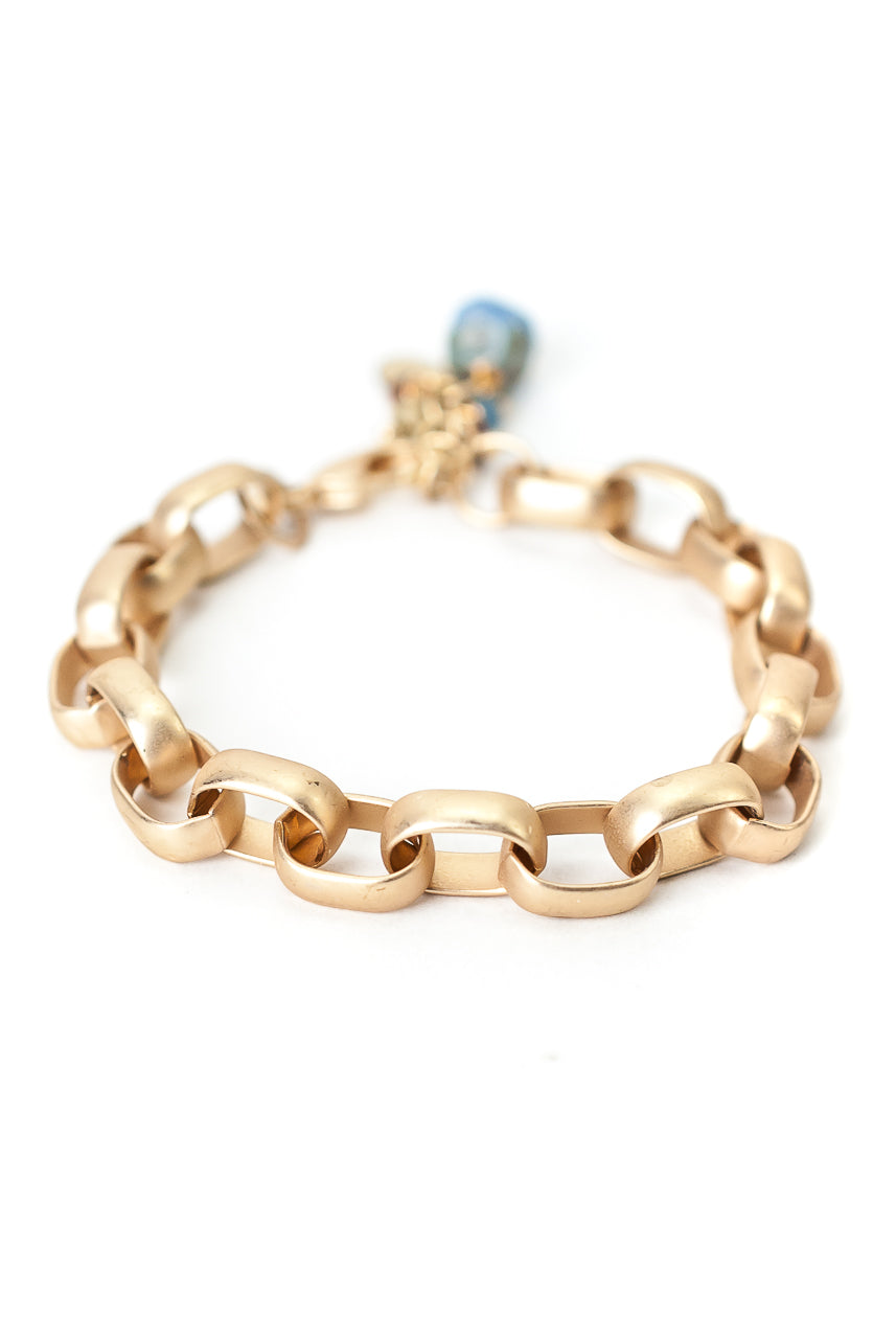 "Sand and Sea 7.5-8.5"" Matte Gold Chain Bracelet"