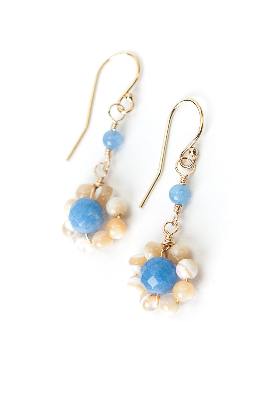 Sand and Sea Agate, Mother of Pearl Flower Earrings