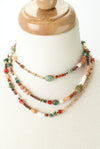 "Sunset 53.5-55.5"" Peruvian Opal, Coral, Jasper Collage Necklace"