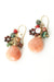 Sunset Coral, Peruvian Opal, Jasper, Calcite Cluster Earrings