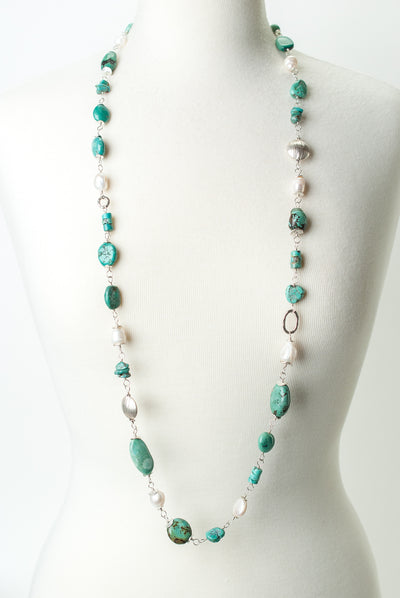 "One of a Kind 43.5"" Turquoise and Pearl Collage Necklace"