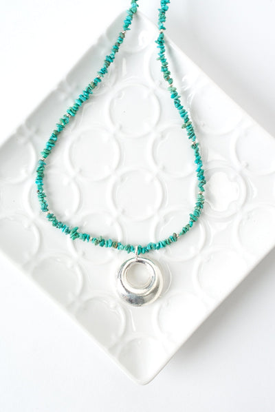 "Limited Edition 18-20"" Turquoise Sterling Silver Disk Focal Necklace"