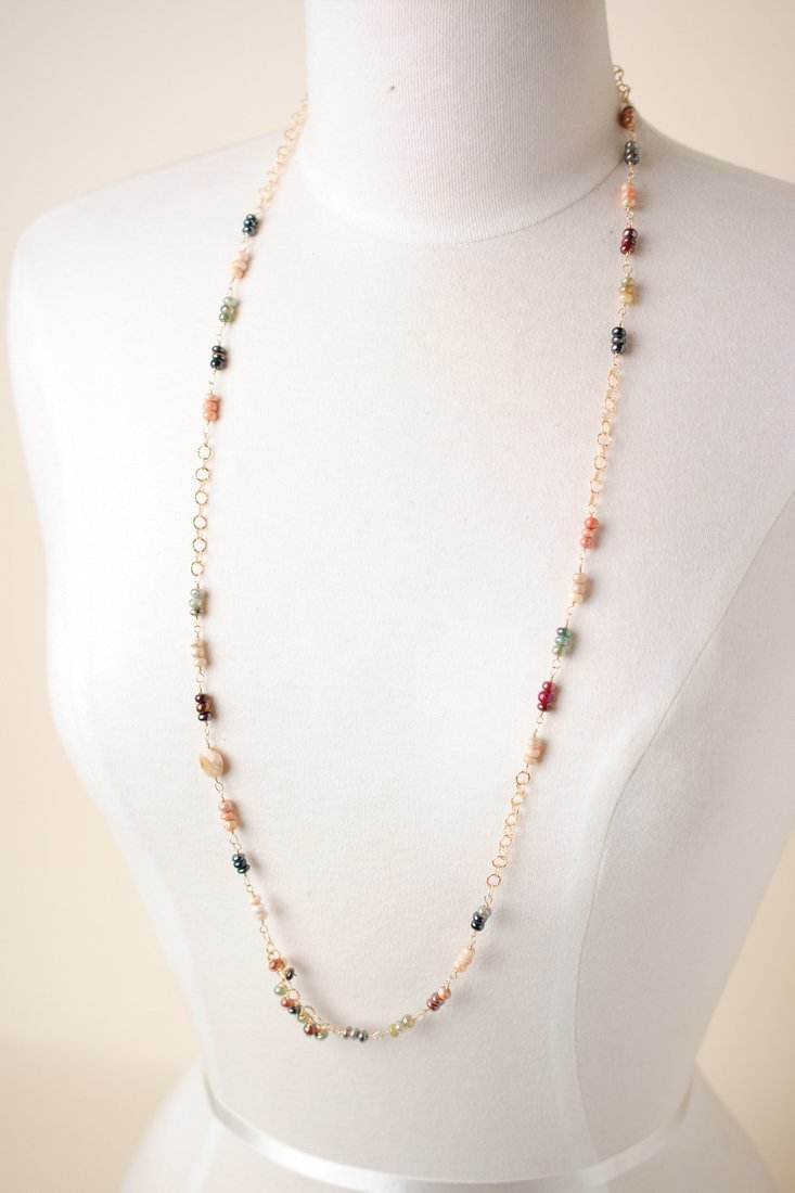 "Sedona Sunset 36.5-38.5"" Long Gemstone Collage Necklace"