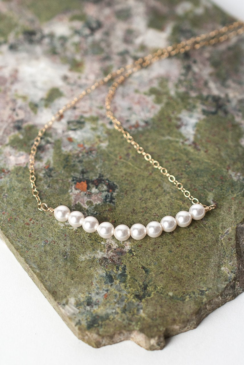 "Serenity 16-18"" Pearl Bar Necklace"