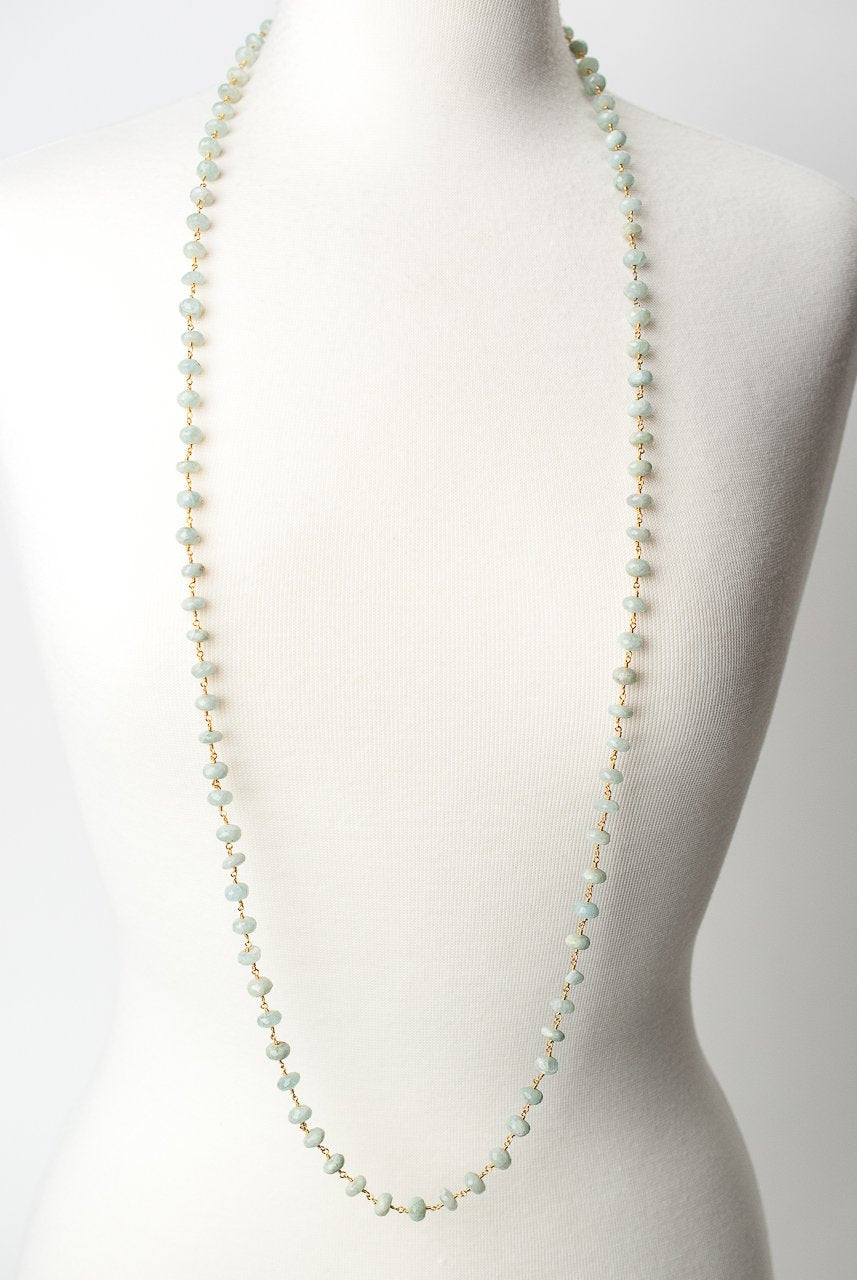 "*Serenity 44.5-46.5"" Simple Aquamerine Layer Necklace"