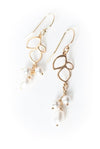Serenity Leaf & Pearl Dangle Earrings