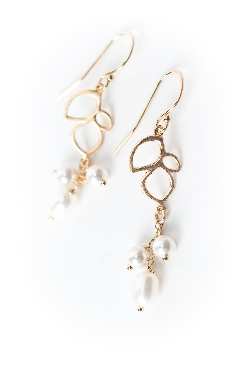 *Serenity Leaf & Pearl Dangle Earrings