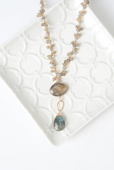 "Sevenly 25-27"" Labradorite Herringbone Focal Necklace"