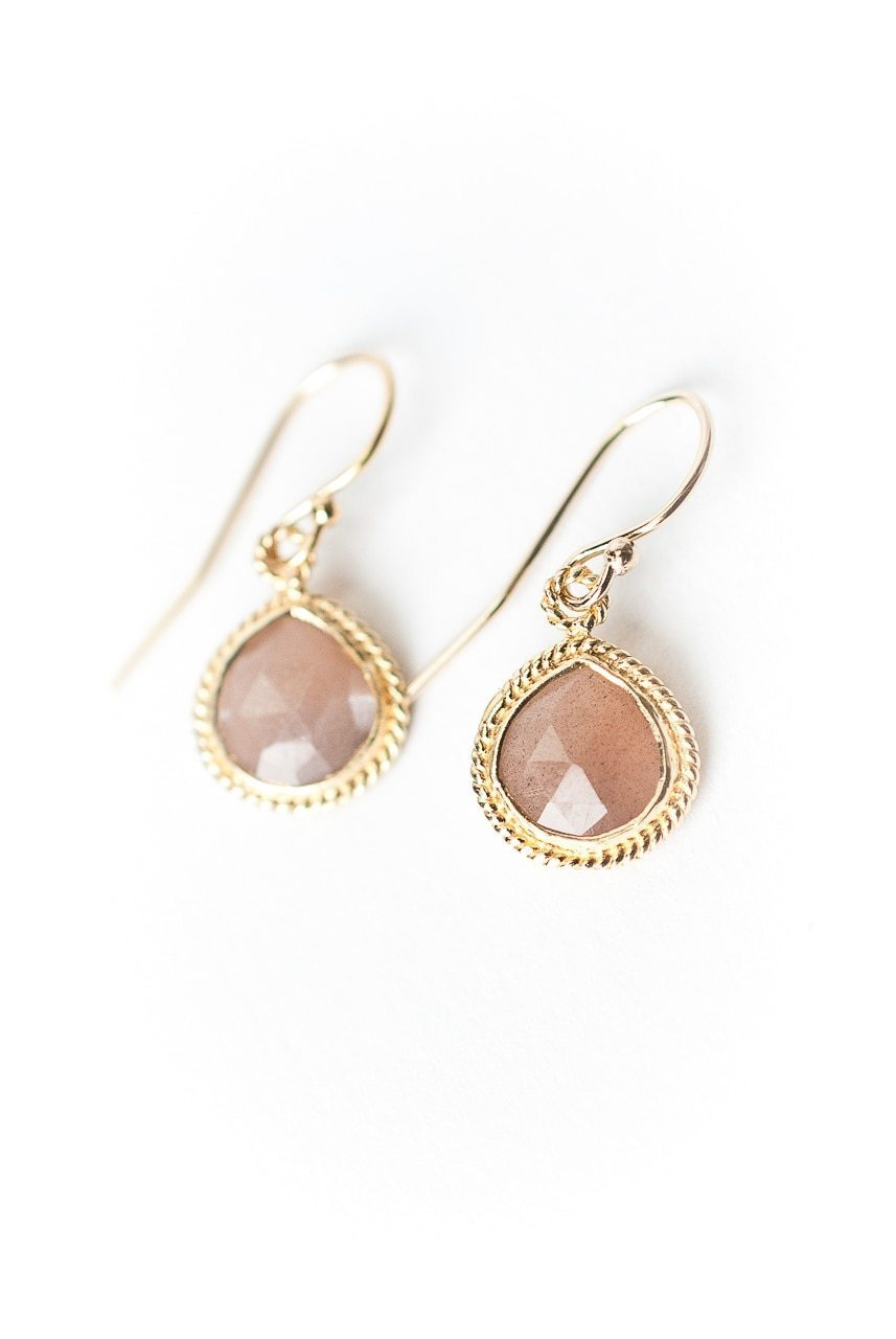 Sevenly Peach Moonstone Bezel  Earrings