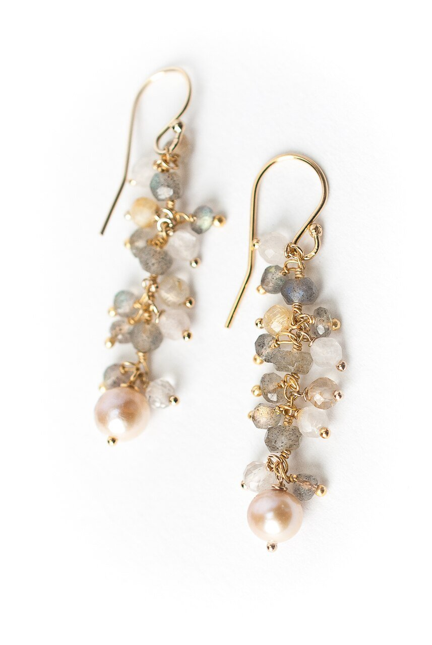 Sevenly Pearl Dangle Cluster Earrings
