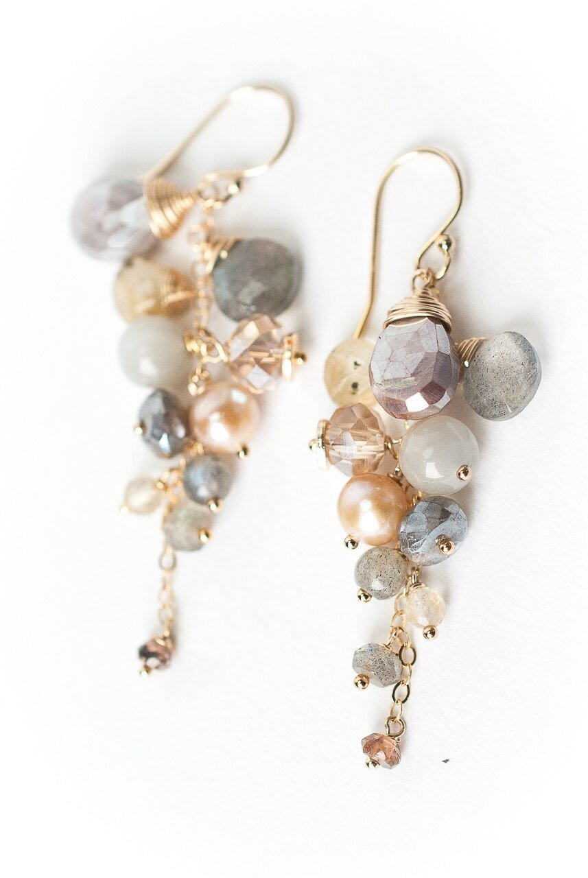Sevenly Cascading Gemstone Cluster Earrings
