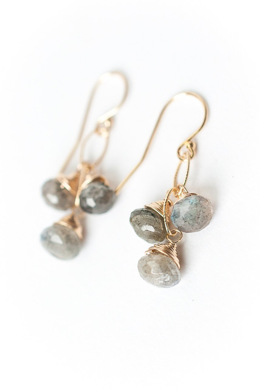 Sevenly Simple Labradorite Cluster Earrings