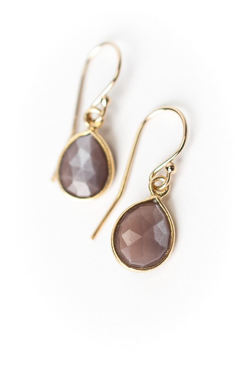 Sevenly Chocolate Moonstone Bezel  Earrings