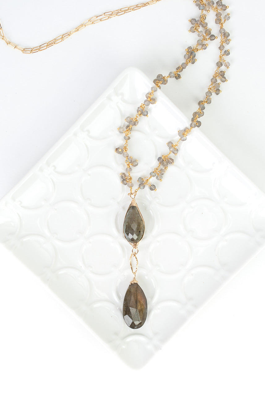 "*Sevenly 25-27"" Labradorite Herringbone Focal Necklace"