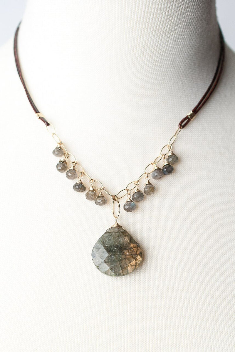 "Sevenly 17-19"" Labradorite Drop Focal Necklace"