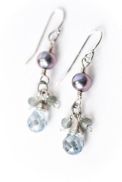 ***Shimmer Crystal & Pearl Dangle Earrings